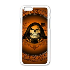 Awsome Skull With Roses And Floral Elements Apple Iphone 6/6s White Enamel Case