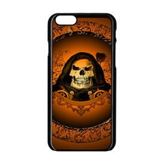 Awsome Skull With Roses And Floral Elements Apple Iphone 6/6s Black Enamel Case