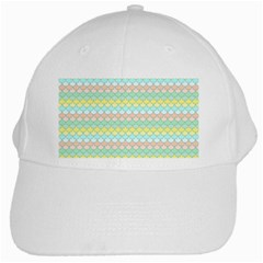 Scallop Repeat Pattern In Miami Pastel Aqua, Pink, Mint And Lemon White Cap by PaperandFrill
