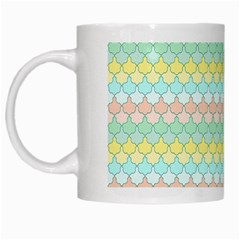 Scallop Repeat Pattern In Miami Pastel Aqua, Pink, Mint And Lemon White Mugs by PaperandFrill