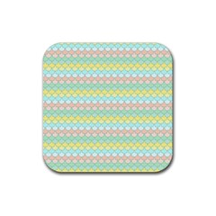 Scallop Repeat Pattern In Miami Pastel Aqua, Pink, Mint And Lemon Rubber Square Coaster (4 Pack)  by PaperandFrill