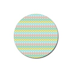 Scallop Repeat Pattern In Miami Pastel Aqua, Pink, Mint And Lemon Rubber Coaster (round)  by PaperandFrill
