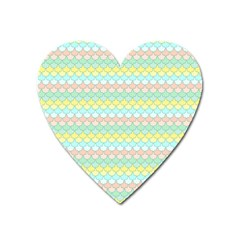 Scallop Repeat Pattern In Miami Pastel Aqua, Pink, Mint And Lemon Heart Magnet by PaperandFrill
