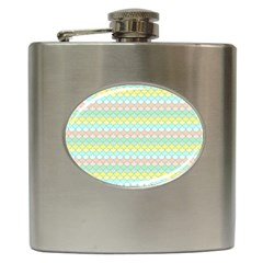 Scallop Repeat Pattern In Miami Pastel Aqua, Pink, Mint And Lemon Hip Flask (6 Oz) by PaperandFrill