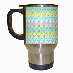 Scallop Repeat Pattern In Miami Pastel Aqua, Pink, Mint And Lemon Travel Mugs (white) by PaperandFrill