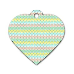 Scallop Repeat Pattern In Miami Pastel Aqua, Pink, Mint And Lemon Dog Tag Heart (one Side) by PaperandFrill
