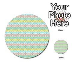 Scallop Repeat Pattern In Miami Pastel Aqua, Pink, Mint And Lemon Multi Purpose Cards (round)  by PaperandFrill