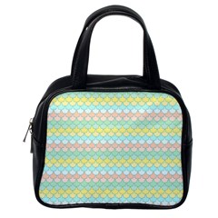 Scallop Repeat Pattern In Miami Pastel Aqua, Pink, Mint And Lemon Classic Handbags (one Side) by PaperandFrill