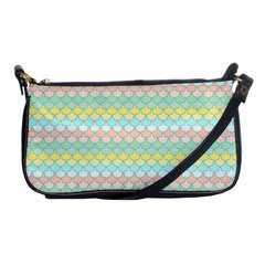 Scallop Repeat Pattern In Miami Pastel Aqua, Pink, Mint And Lemon Shoulder Clutch Bags by PaperandFrill