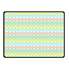 Scallop Repeat Pattern In Miami Pastel Aqua, Pink, Mint And Lemon Fleece Blanket (small) by PaperandFrill