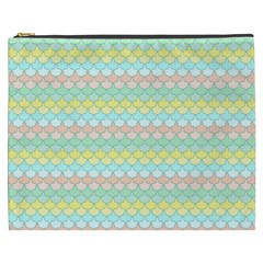 Scallop Repeat Pattern In Miami Pastel Aqua, Pink, Mint And Lemon Cosmetic Bag (xxxl)  by PaperandFrill