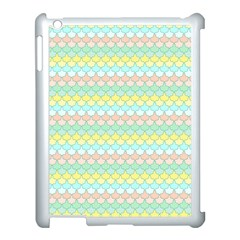 Scallop Repeat Pattern In Miami Pastel Aqua, Pink, Mint And Lemon Apple Ipad 3/4 Case (white)