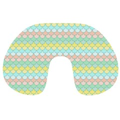 Scallop Repeat Pattern In Miami Pastel Aqua, Pink, Mint And Lemon Travel Neck Pillows by PaperandFrill