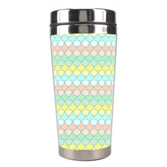 Scallop Repeat Pattern In Miami Pastel Aqua, Pink, Mint And Lemon Stainless Steel Travel Tumblers by PaperandFrill