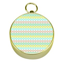 Scallop Repeat Pattern In Miami Pastel Aqua, Pink, Mint And Lemon Gold Compasses by PaperandFrill