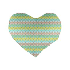 Scallop Repeat Pattern In Miami Pastel Aqua, Pink, Mint And Lemon Standard 16  Premium Flano Heart Shape Cushions by PaperandFrill