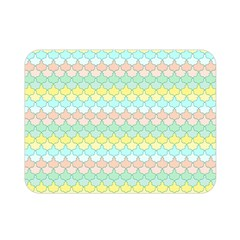 Scallop Repeat Pattern In Miami Pastel Aqua, Pink, Mint And Lemon Double Sided Flano Blanket (mini)  by PaperandFrill