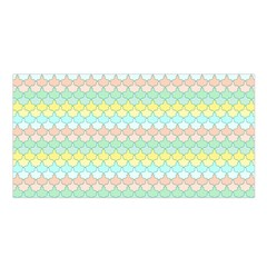 Scallop Repeat Pattern In Miami Pastel Aqua, Pink, Mint And Lemon Satin Shawl by PaperandFrill