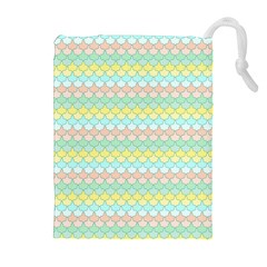 Scallop Repeat Pattern In Miami Pastel Aqua, Pink, Mint And Lemon Drawstring Pouches (extra Large) by PaperandFrill