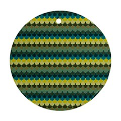 Scallop Pattern Repeat In  new York  Teal, Mustard, Grey And Moss Ornament (round)  by PaperandFrill