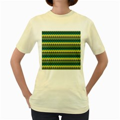 Scallop Pattern Repeat In  new York  Teal, Mustard, Grey And Moss Women s Yellow T-shirt by PaperandFrill