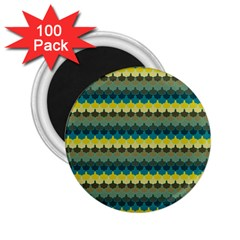 Scallop Pattern Repeat In  new York  Teal, Mustard, Grey And Moss 2 25  Magnets (100 Pack)  by PaperandFrill