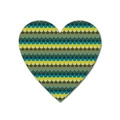 Scallop Pattern Repeat In  new York  Teal, Mustard, Grey And Moss Heart Magnet by PaperandFrill
