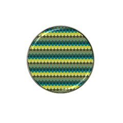 Scallop Pattern Repeat In  new York  Teal, Mustard, Grey And Moss Hat Clip Ball Marker (4 Pack) by PaperandFrill