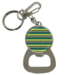 Scallop Pattern Repeat In  new York  Teal, Mustard, Grey And Moss Bottle Opener Key Chains by PaperandFrill
