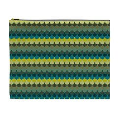Scallop Pattern Repeat In  new York  Teal, Mustard, Grey And Moss Cosmetic Bag (xl) by PaperandFrill
