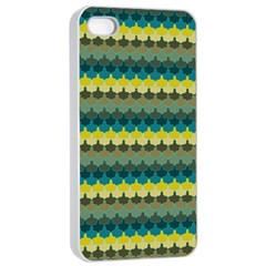 Scallop Pattern Repeat In  new York  Teal, Mustard, Grey And Moss Apple Iphone 4/4s Seamless Case (white) by PaperandFrill