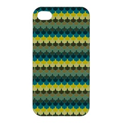 Scallop Pattern Repeat In  new York  Teal, Mustard, Grey And Moss Apple Iphone 4/4s Hardshell Case by PaperandFrill