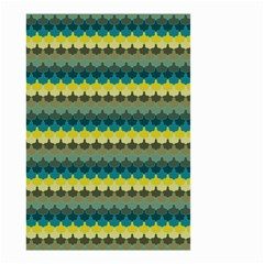 Scallop Pattern Repeat In  new York  Teal, Mustard, Grey And Moss Small Garden Flag (two Sides) by PaperandFrill