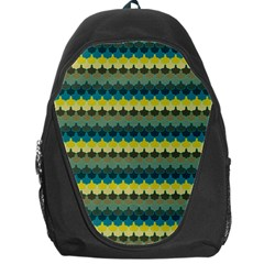 Scallop Pattern Repeat In  new York  Teal, Mustard, Grey And Moss Backpack Bag by PaperandFrill