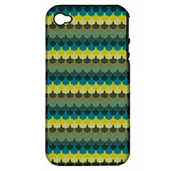 Scallop Pattern Repeat In  new York  Teal, Mustard, Grey And Moss Apple Iphone 4/4s Hardshell Case (pc+silicone) by PaperandFrill