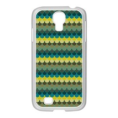 Scallop Pattern Repeat In  new York  Teal, Mustard, Grey And Moss Samsung Galaxy S4 I9500/ I9505 Case (white) by PaperandFrill