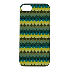 Scallop Pattern Repeat In  new York  Teal, Mustard, Grey And Moss Apple Iphone 5s Hardshell Case by PaperandFrill