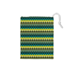 Scallop Pattern Repeat In  new York  Teal, Mustard, Grey And Moss Drawstring Pouches (small)  by PaperandFrill
