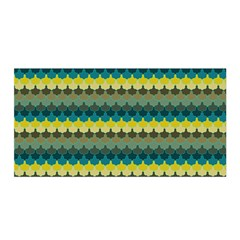 Scallop Pattern Repeat In  new York  Teal, Mustard, Grey And Moss Satin Wrap by PaperandFrill