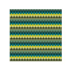 Scallop Pattern Repeat In  new York  Teal, Mustard, Grey And Moss Small Satin Scarf (square)