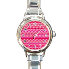 Valentine Pink And Red Wavy Chevron Zigzag Pattern Round Italian Charm Watches by PaperandFrill