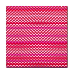Valentine Pink And Red Wavy Chevron Zigzag Pattern Tile Coasters by PaperandFrill