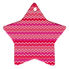 Valentine Pink And Red Wavy Chevron Zigzag Pattern Ornament (star)  by PaperandFrill
