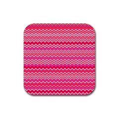 Valentine Pink And Red Wavy Chevron Zigzag Pattern Rubber Square Coaster (4 Pack)  by PaperandFrill