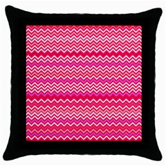Valentine Pink And Red Wavy Chevron Zigzag Pattern Throw Pillow Cases (black) by PaperandFrill