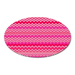 Valentine Pink And Red Wavy Chevron Zigzag Pattern Oval Magnet by PaperandFrill