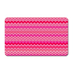 Valentine Pink And Red Wavy Chevron Zigzag Pattern Magnet (rectangular) by PaperandFrill