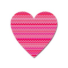 Valentine Pink And Red Wavy Chevron Zigzag Pattern Heart Magnet by PaperandFrill