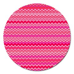 Valentine Pink And Red Wavy Chevron Zigzag Pattern Magnet 5  (round) by PaperandFrill