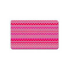 Valentine Pink And Red Wavy Chevron Zigzag Pattern Magnet (name Card) by PaperandFrill